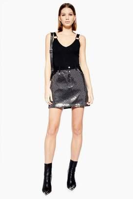 Topshop Womens Sparkle Front Denim Skirt
