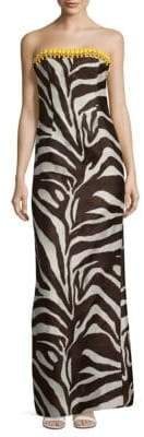 Escada Gabie Zebra Printed Silk Dress