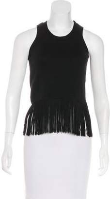 Timo Weiland Fringe-Trimmed Sleeveless Top Black Fringe-Trimmed Sleeveless Top
