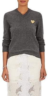 Comme des Garcons Women's Heart-Appliquéd Wool V-Neck Sweater - Gray