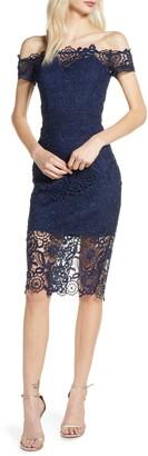 Chi Chi London Eriella Off the Shoulder Lace Dress