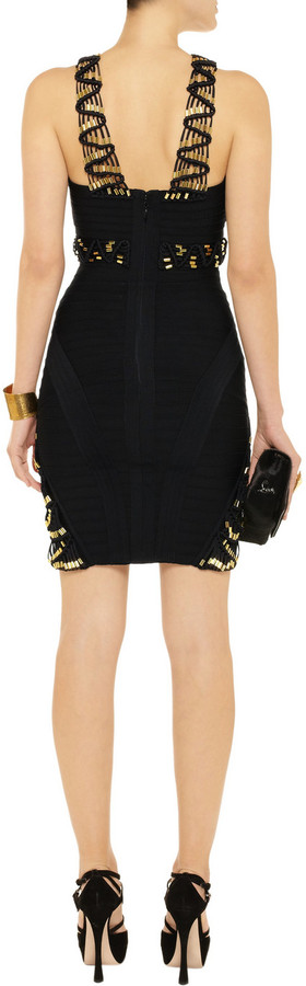 Herve Leger Embellished macramé and bandage dress