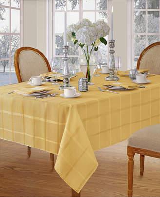 "Elrene Elegance Plaid Gold 60"" X 84"" Oval Tablecloth"