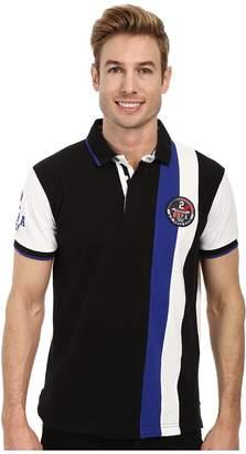 U.S. Polo Assn. Vertical Stripes Color Block Pique Polo Men's Short Sleeve Pullover