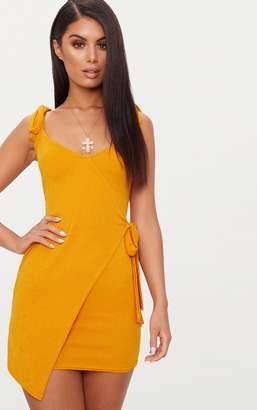 PrettyLittleThing Mustard Tie Detail Strappy Wrap Bodycon Dress