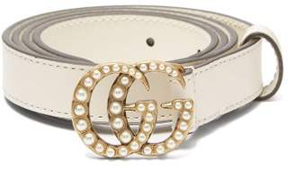 Gucci Faux Pearl Embellished Gg Logo 2cm Leather Belt - Womens - Cream