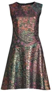 Josie Natori Bohemia Garden Jacquard Fit-&-Flare Dress