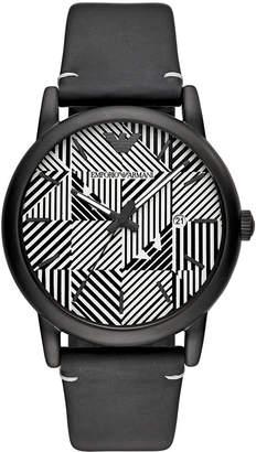 Emporio Armani Men's Black Leather Watch 43mm