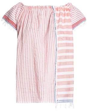Lemlem Fringe-Trimmed Striped Cotton-Blend Gauze Top