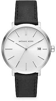 Michael Kors Blake Three-Hand Stainless Steel Black Leather Strap Watch