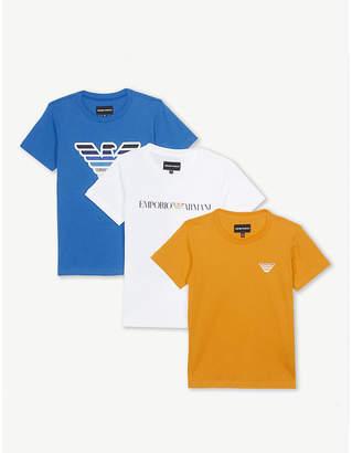 Armani Junior Set of three logo cotton T-shirts 4-16 years