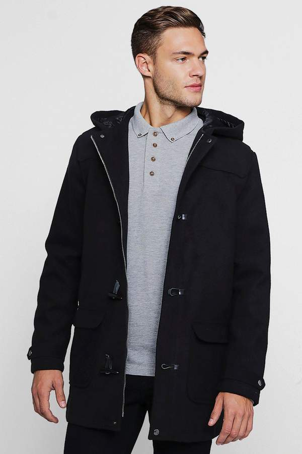 boohoo Wool Look Hooded Duffle Coat