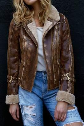 Diane von Furstenberg AS by Python Shearling Coat