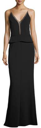 Narciso Rodriguez Sleeveless Sheer-Trim Peplum Gown, Black