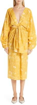 Johanna Ortiz Tie Front Daffodil Print Poplin Midi Dress