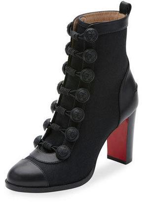 Christian Louboutin Who Dances Button 85mm Red Sole Bootie, Black $1,495 thestylecure.com