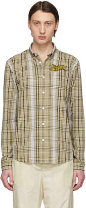 Kenzo Beige Checkered Jumping Tiger Crest Shirt