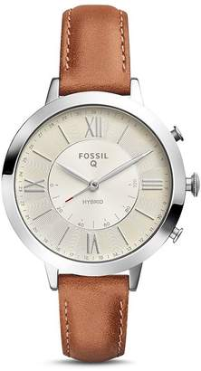 Fossil Jacqueline Brown Leather Strap Hybrid Smartwatch, 36mm