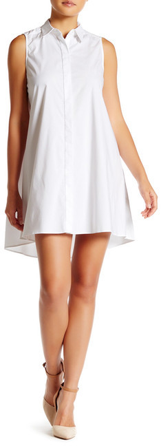 Alice + Olivia alice + olivia Amya Hi-Lo Flared A-Line Shirt Dress