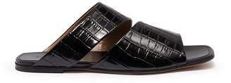 Alumnae Cutout vamp croc embossed leather slide sandals