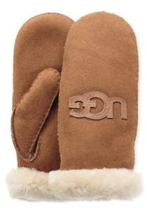UGG Logo Shearling-Trimmed Suede Mittens