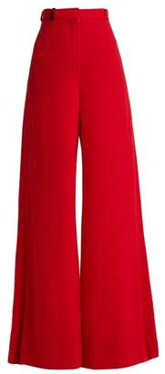 Lanvin High Rise Wool Crepe Tailored Trousers - Womens - Red