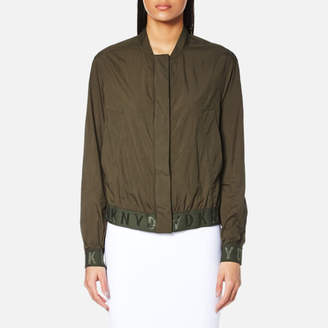 DKNY Women's Long Sleeve Bomber Jacket with Elastic Logo Trims