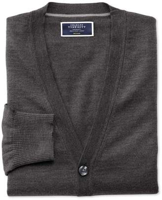 Charles Tyrwhitt Charcoal Merino Wool Cardigan Size XL
