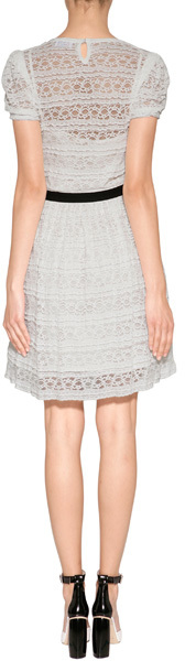 RED Valentino Puff Sleeve Lace Dress