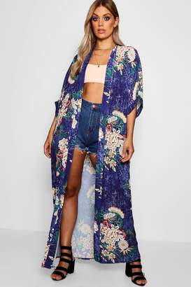 boohoo Plus Floral Maxi Kimono