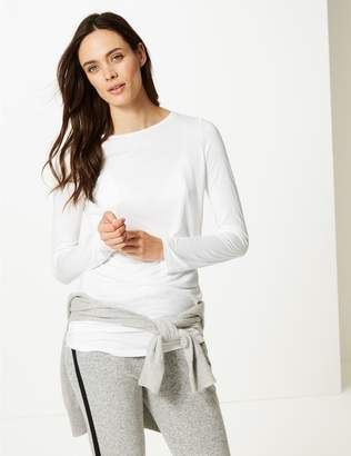 Marks and Spencer Round Neck Long Sleeve Longline T-Shirt