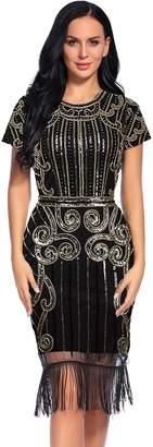 Flapper Girl Women's 1920s Vintage Inspired Sequin Embellished Fringe Gatsby Flapper Dress (L, )