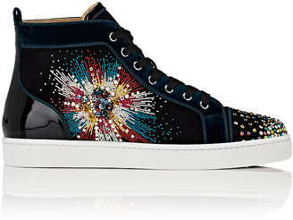 Christian Louboutin Men's Louis On Fire Suede High-Top Sneakers-BLACK $1,995 thestylecure.com