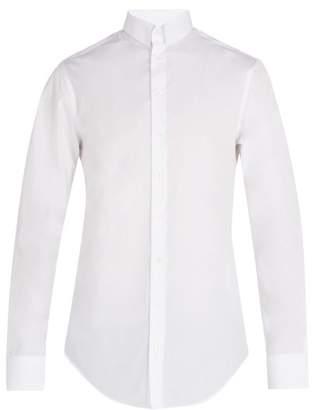 Giorgio Armani Press Stud Collar Cotton Shirt - Mens - White