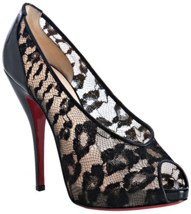 Christian Louboutin black lace 'Petilo 120' peep toe pumps