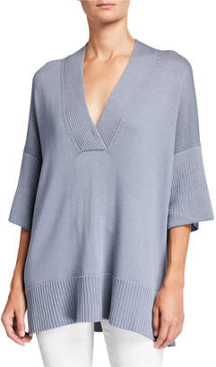 Lafayette 148 New York Half-Sleeve Cotton\/Silk Relaxed V-Neck Sweater