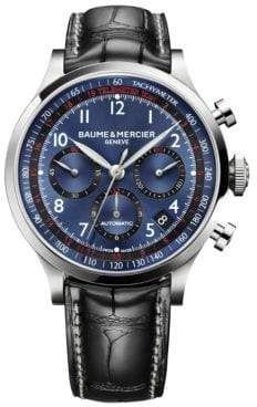 Baume & Mercier Baume& Mercier Baume& Mercier Men's Capeland 10065 Stainless Steel& Alligator Strap Chronograph Watch - Silver Multi