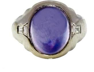 Platinum 6.50ct Violet Blue Sapphire and Diamond Vintage Art Deco Ring Size 8.75