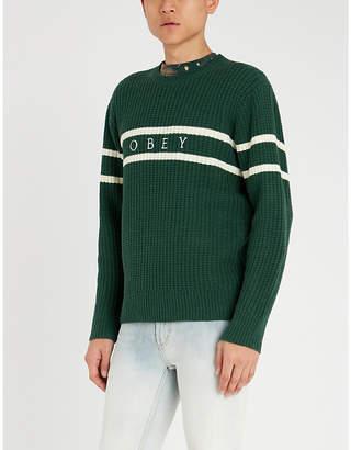 Obey Roebling contrast-striped waffle-knit jumper