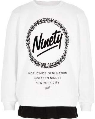 River Island Boys white 'ninety' double layer sweatshirt