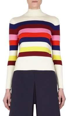 DELPOZO Striped Ribbed Sweater