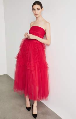 BCBGMAXAZRIA Strapless Ruffle-Trimmed Gown