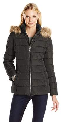 Tommy Hilfiger Women's Short Front Zip Puffer with Fur Trimmed Hood,L