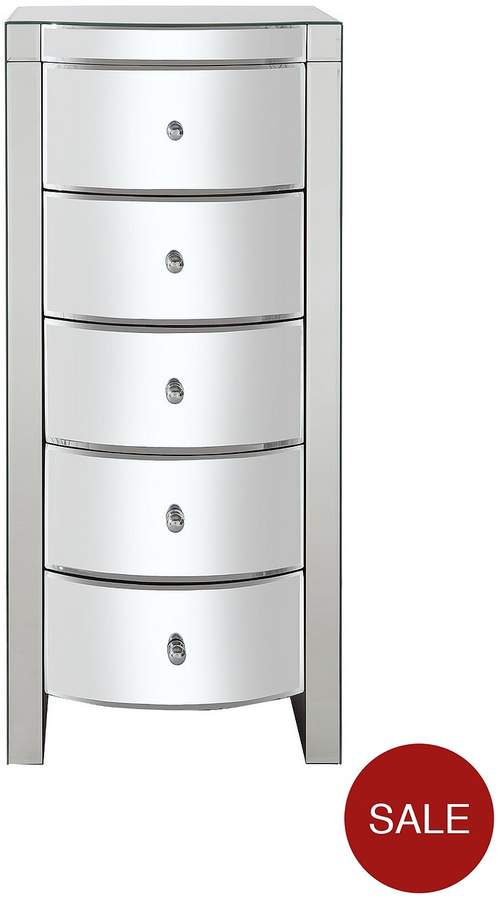 Curved Mirror Narrow Chest Of 5 Drawers