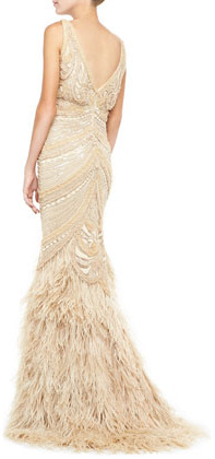 Naeem Khan Sleeveless Embroidered Feather Skirt Gown