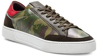 The Kooples Camouflage Leather Lace-Up Sneakers