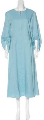 Tibi Midi Linen-Blend Dress