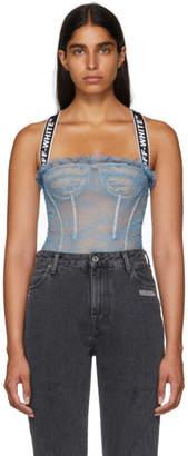 Off-White Blue Logo Lace Bodysuit