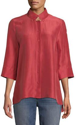 Eileen Fisher Silk Stand Collar Shirt
