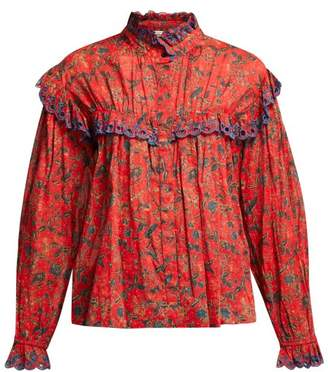 Etoile Isabel Marant Elmira Floral Print Cotton Blouse - Womens - Red Multi